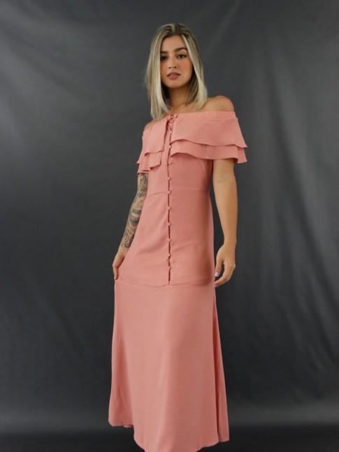 Vestido Longo Ciganinha com Botões em Crepe Rosa [2012078]