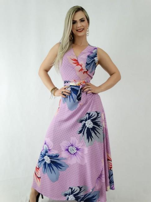 Vestido em Viscose Envelope Transpassado Lilás Poá Flores [1907045]