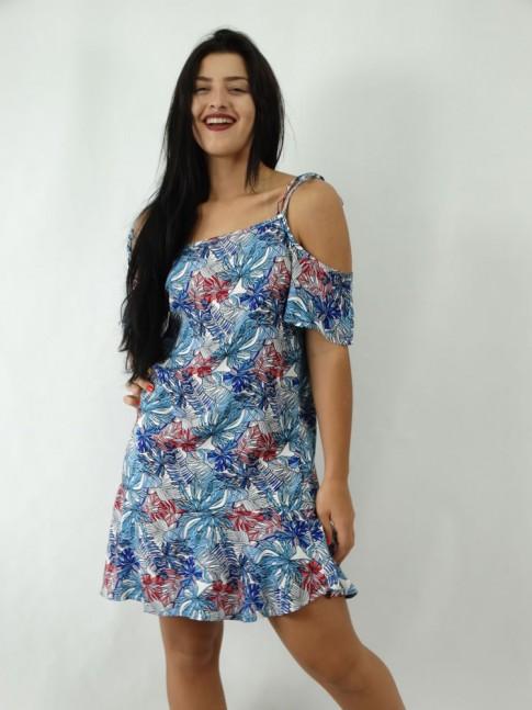 Vestido em Viscose com Alcinha e Manga Flare com Flores