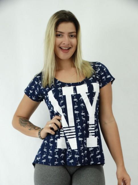 T-shirt em Viscolycra Flamingos NY