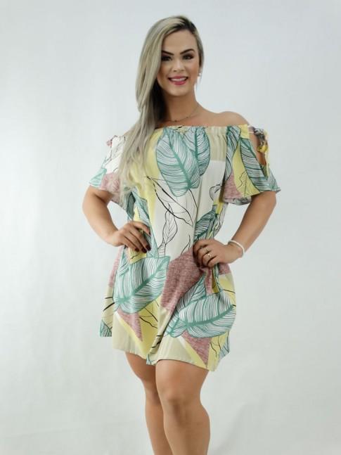 Vestido em Viscose Ciganinha Colors Folhas [2001015]