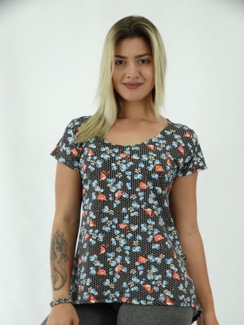 T-shirt  em Viscolycra Poa Flores