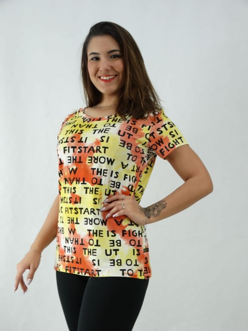 T-Shirt Estampada em Viscolycra Letras Vermelha e Amarela [2008068]