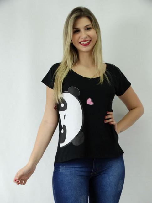 T-shirt em Viscolycra Estilo Mullet Panda Espiã [1810176]