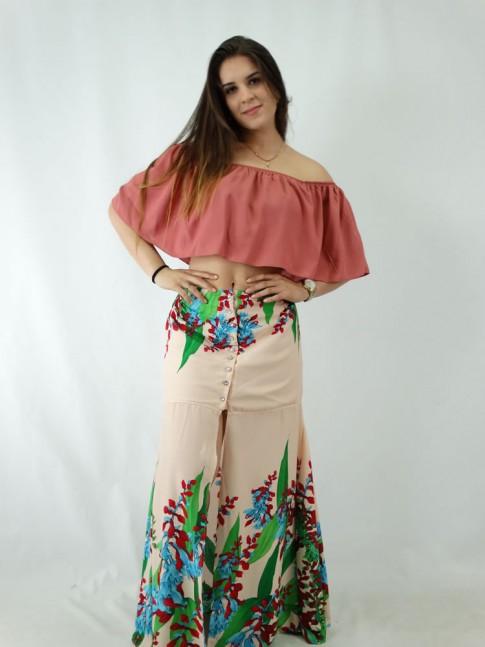 9a06aa5d29 Saia Longa e Viscose com Botoes e Fenda Rosa Floral - Moda Na Web ...