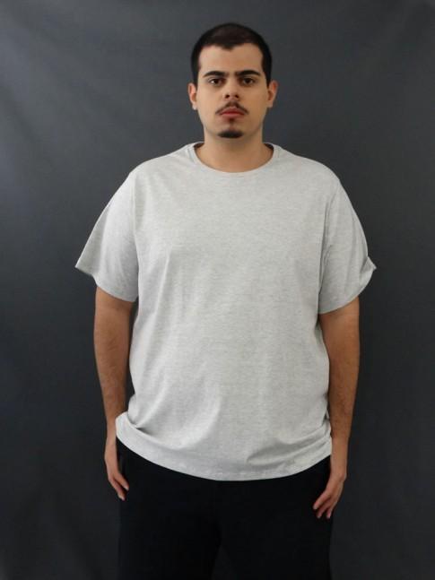 T-Shirt Masculina Basic Plus Size Cinza [2010181]