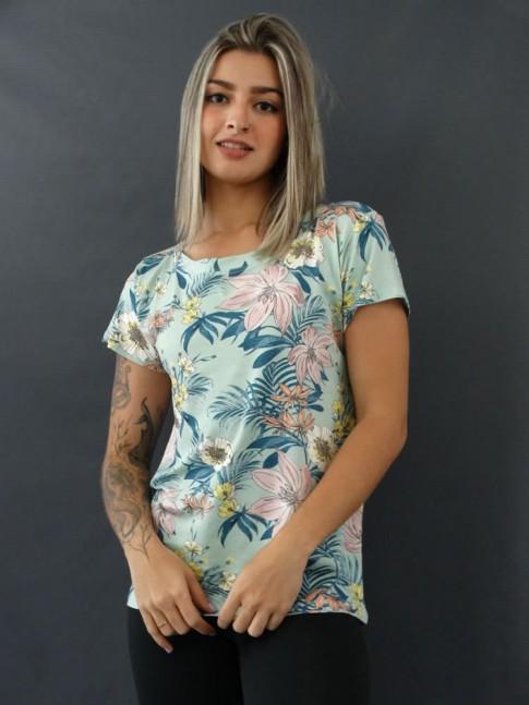 T-shirt Estampada em Viscolycra Verde Claro Flores Folhas [2012062]