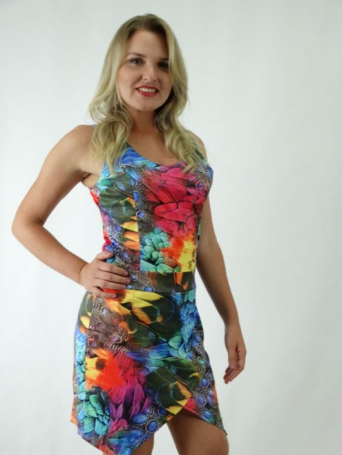 Vestido Assimétrico em Cetim com Zíper Estampa Tropical