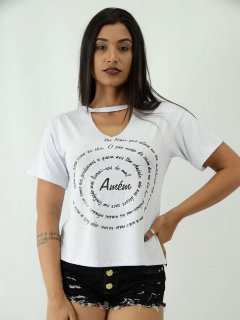 T-shirt em Viscolycra com Recorte V Estampa Pai Nosso