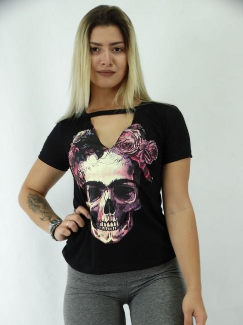 T-shirt em Viscolycra Recorte V C