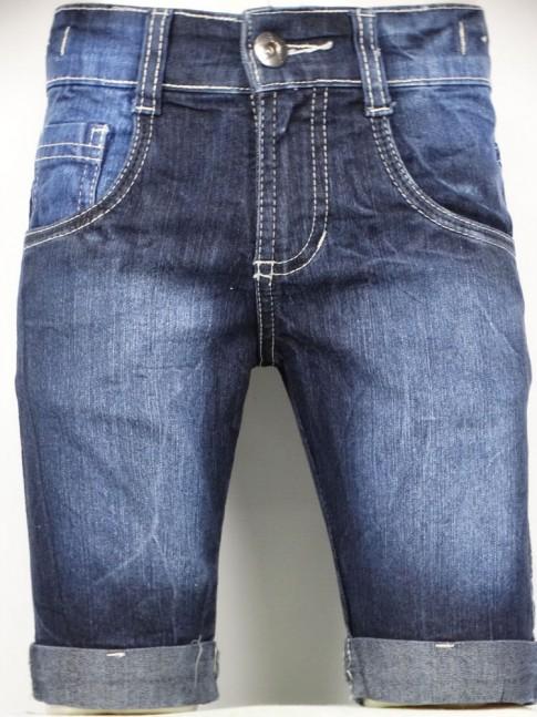311 - Bermuda masculina Infantil em jeans com c/Stretch Bainha virada