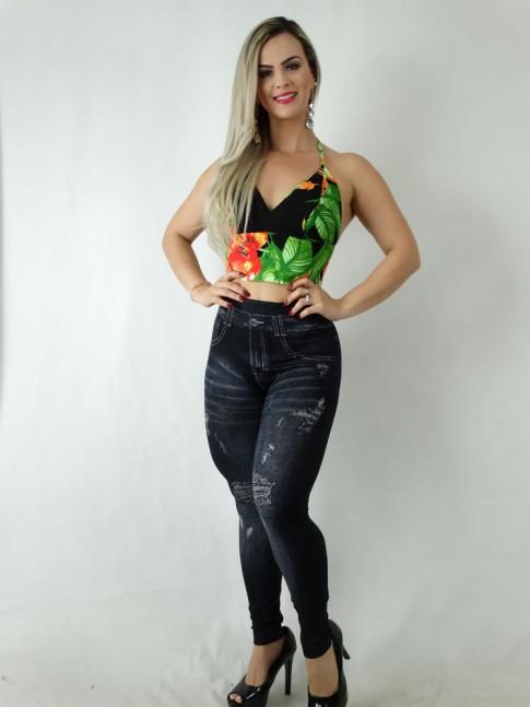 Calça Legging Jeans Fake com Desenho Destroyed e Bolsos com Detalhe Bordado Preto [1905064]