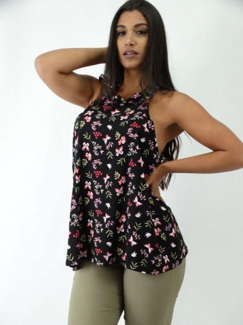 Blusa em Viscose com Amarracao Preto Flores Rosas