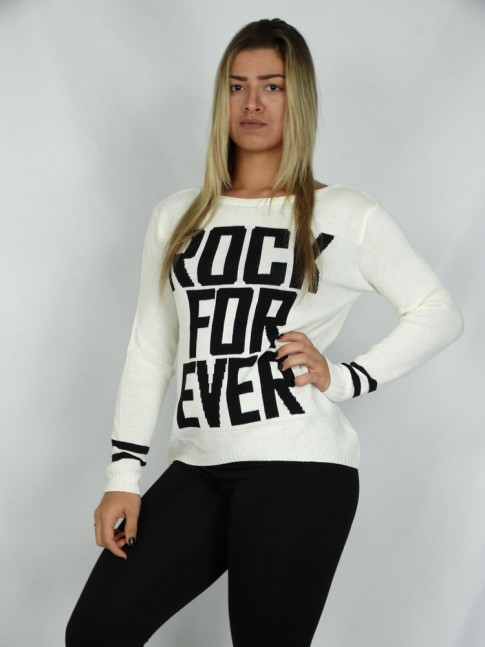 200-Blusa em tricot estampa rock for ever