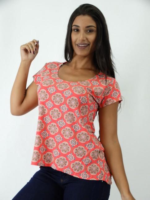 T-shirt em Viscolycra Mullet Coral Mandalas