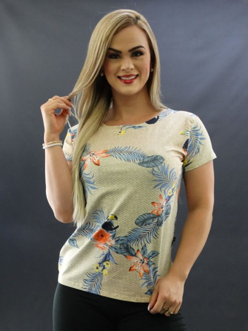 T-shirt Estampada em Viscolycra Bege Flores Tucanos [2009070]