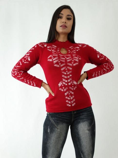 Blusa em Tricot com Detalhes Vazados Vermelho Forro Branco [1904132]