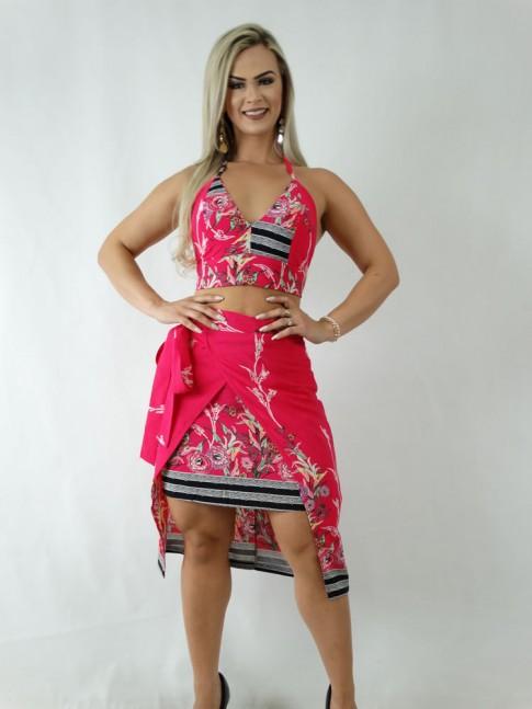 Saia em Viscose Mid Transpassada Rosa Pink Flores Barrado Preto [1904082]