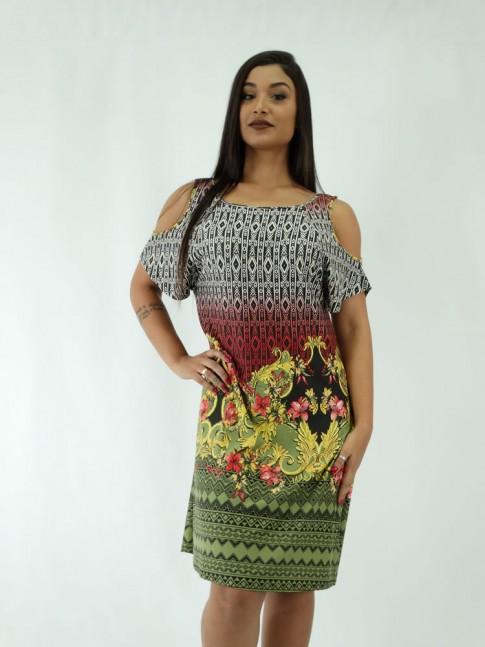 Vestido em Viscolycra Manga Vazada Est.Tribal Flower