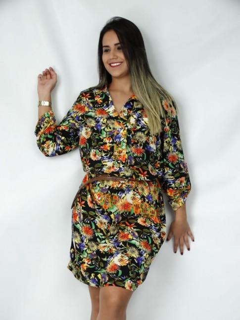 Vestido de viscose com botão de pressão estampa floral hot