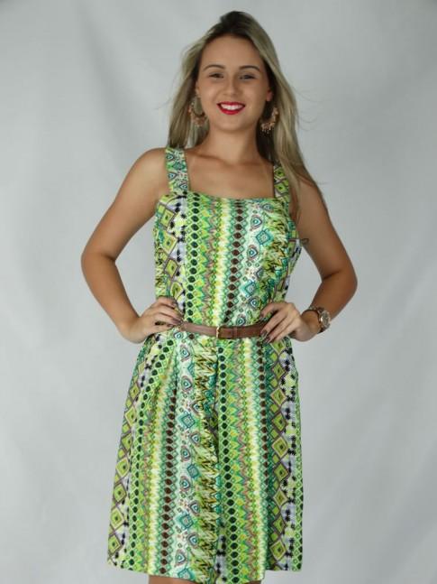 Vestido de viscose com prega na saia estampa étnica verde
