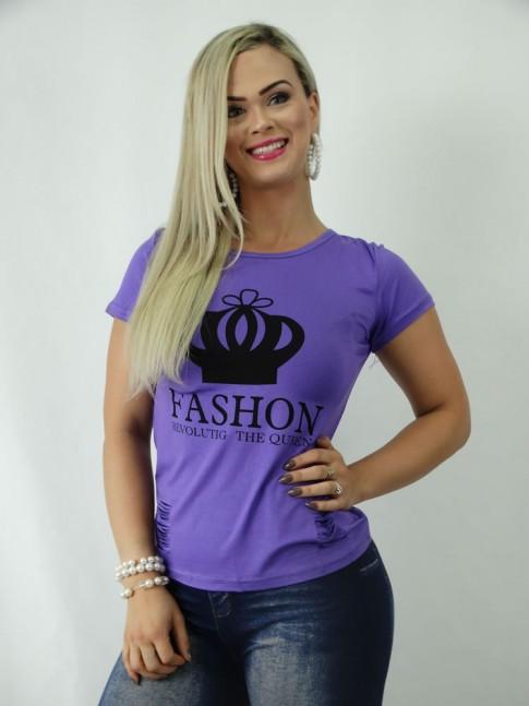 T-shirt em Viscolycra Lilas com Estampa Fashion Coroa Detalhes Riscos Abertos [1901212]