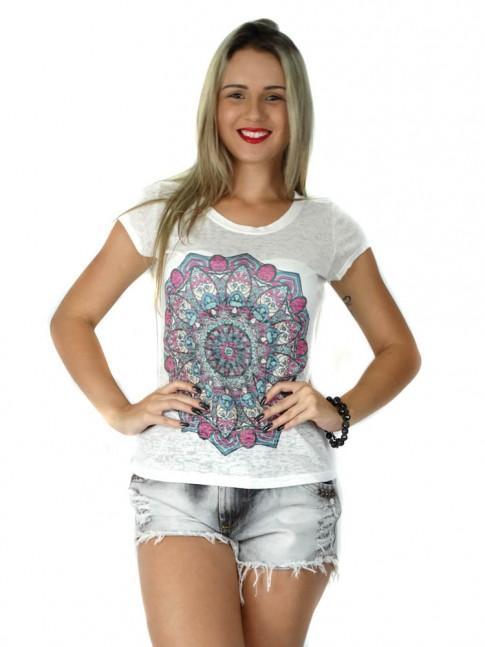 313 - T-Shirt Baby Look em Devorê Estampa Tribal Rosa e Verde 60