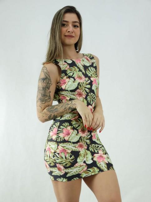 Vestido em Suplex Decote Profundo nas Costas Preto Folhas Verdes Flores Rosas [2006037]