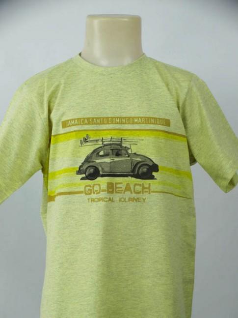 T-shirt infantil gola careca amarela com estampa beach