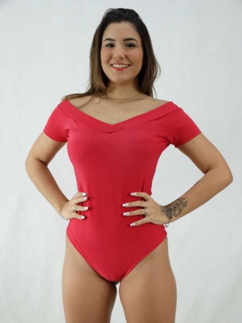 """Body Ombro a Ombro Decote """"V"""" com Bojo Suplex Rosa Pink [2008019]"""