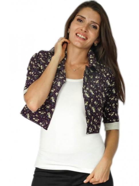 Jaquetinha de veludo estampa floral roxa