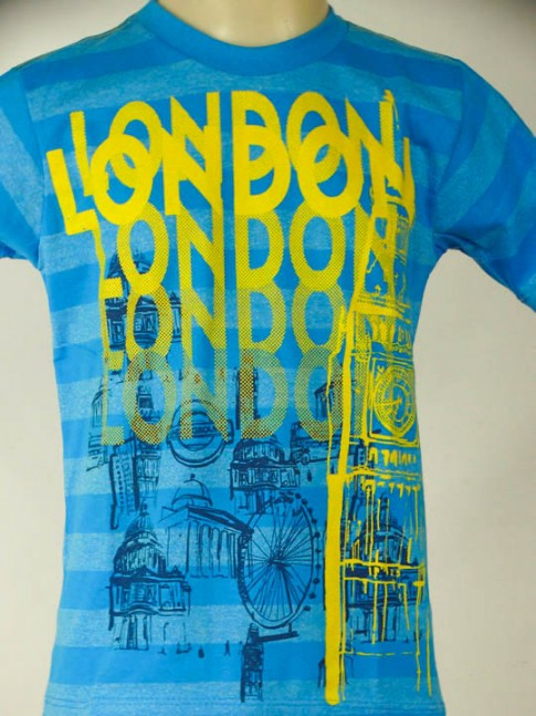 T-shirt infantil azul com estampa London