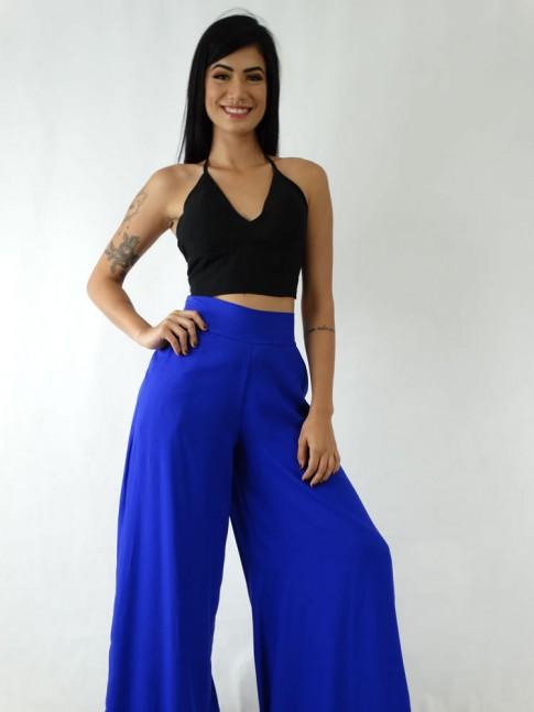 Calça Pantalona em Viscose com Pala e Elástico Azul Caneta [1911103]