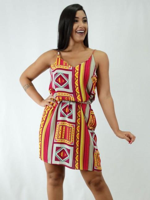 Vestido em Viscose Decote V Etnico Elements Uva [1812024]
