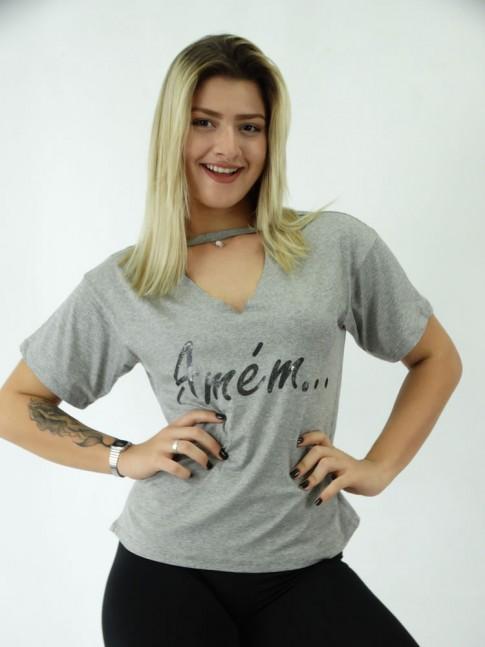 T-Shirt Recorte V Viscolycra Amem