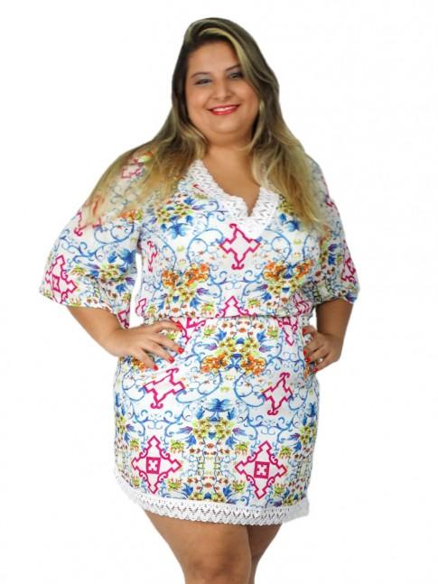 Vestido de viscose com renda no decote estampa floral étnica clara