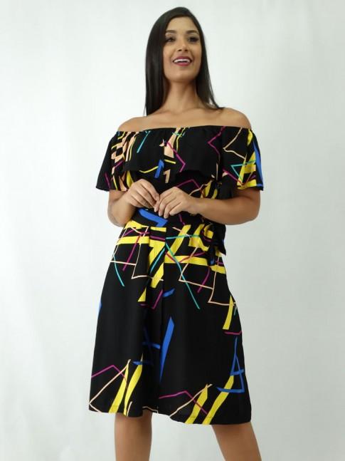 Vestido em Viscose Ciganinha com Amarracao Preto Colors [1810038]