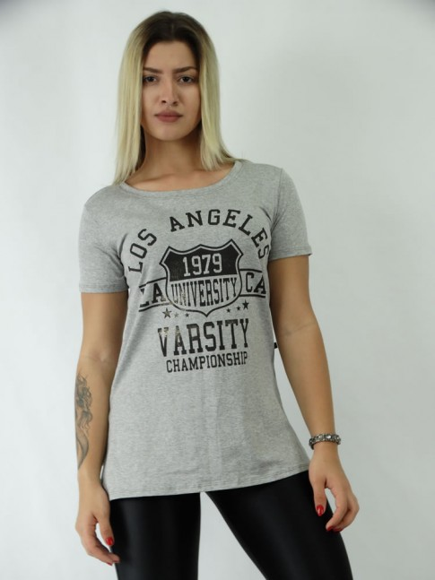 T-shirt Mullet com Fenda Viscolycra Los Angeles