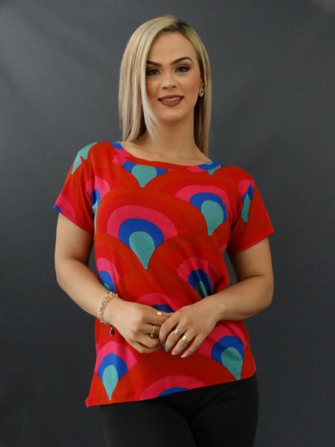 T-shirt Estampada em Viscolycra Vermelho e Azul Leque [2011062]