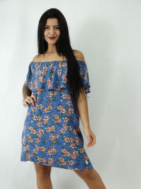 Vestido Tomara Que Caia Com Babado Azul Flores Em Viscose