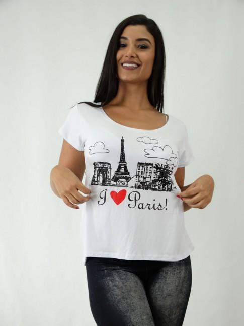 T-shirt em Viscolycra Estilo Mullet Branco Paris [1812076]