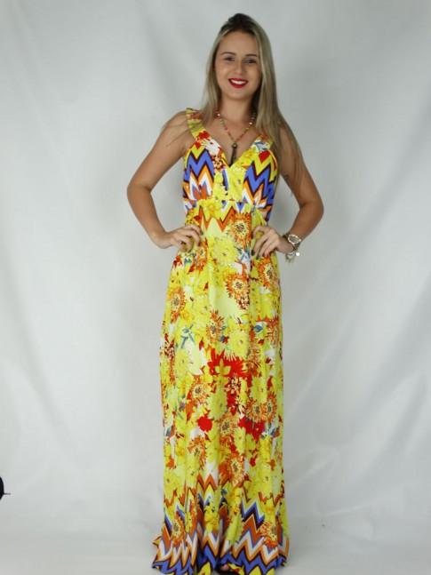Vestido de viscose longo com decote V estampa floral amarela