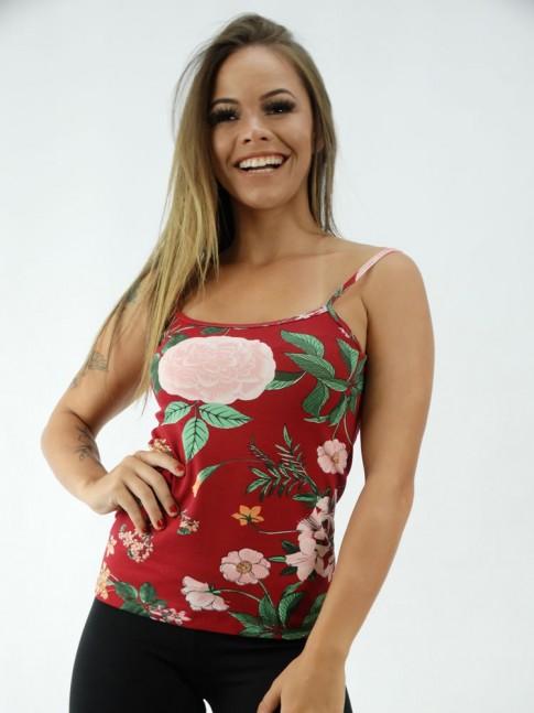 Blusa Ribana em Viscolycra Vermelho Flores [2001245]