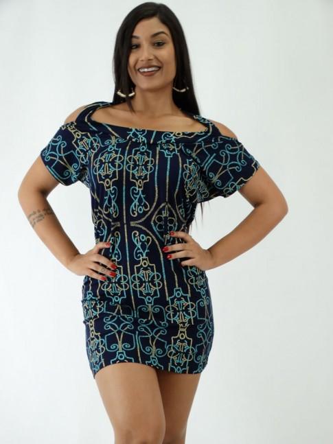 Vestido em Viscolycra Recorte nas costas Azul Marinho Linhas