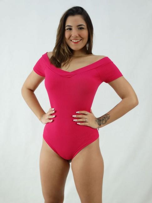 """Body Ombro a Ombro Decote """"V"""" com Bojo Canelado Rosa Pink [2008024]"""
