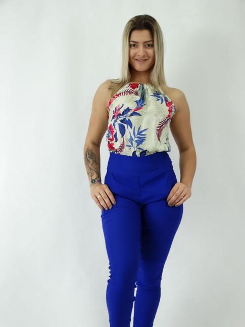 Macacão com Amarração Azul Est.Flores