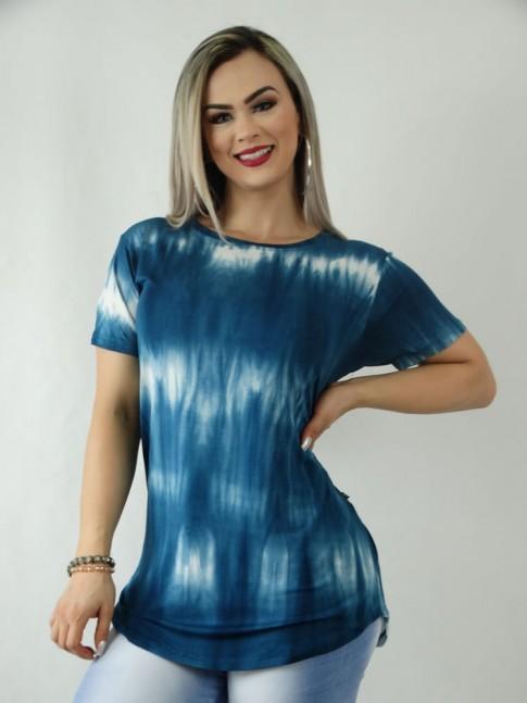T-Shirt em Viscolycra Sobre Legging Tie Dye Azul Petróleo [1909277]