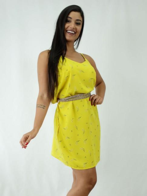 Vestido em Viscose Decote V Amarelo Florzinhas [1812026]