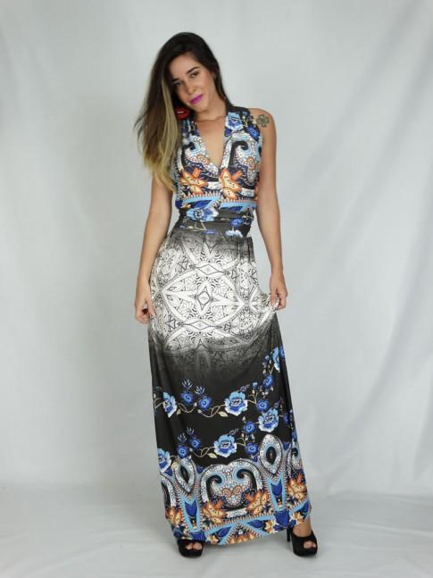 308 - Vestido Longo Três Maneiras de Usar em Viscolycra Estampa Multi Efeitos