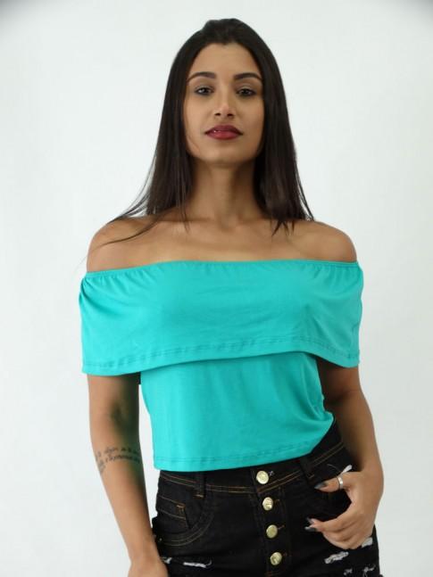Blusa Cropped em Viscolycra Ciganinha Sobreposta Verde